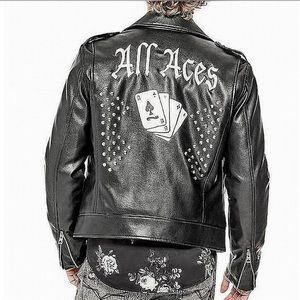 New! GUESS Men's Robertson Aces Moto Stud Jacket
